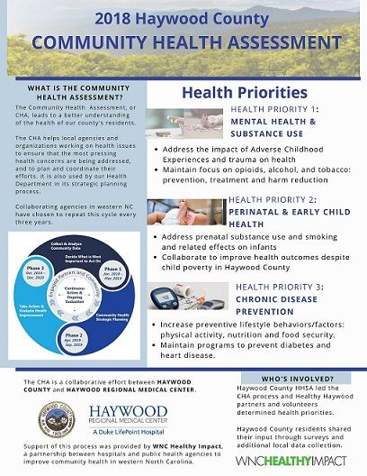 Front page of a document summarizing the 2018 Haywood County Community Health Assessment