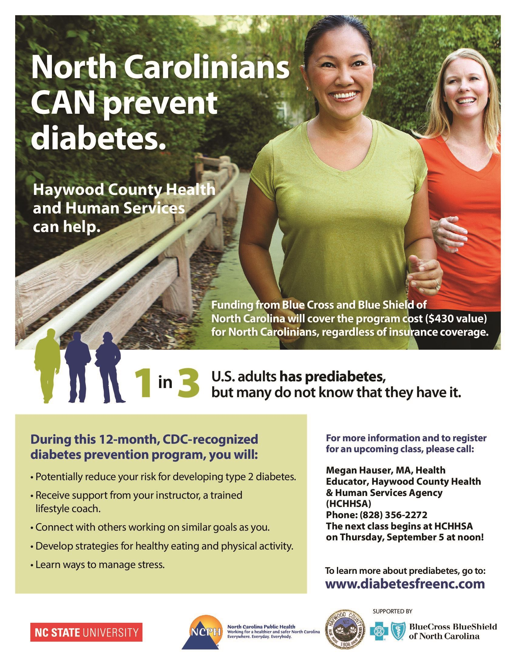 Flyer advertising diabetes prevention classes.  Classes are no-cost, and run for 12 months.  Incenti